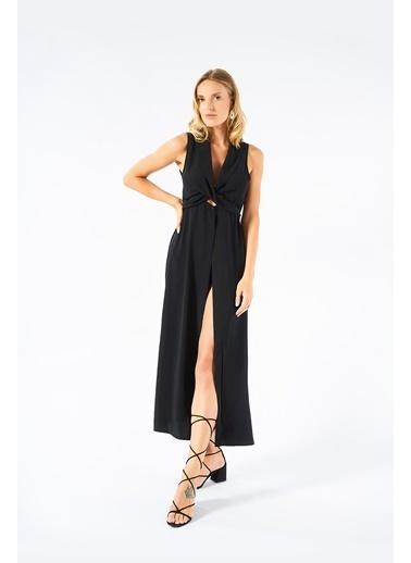 Women&Women Siyah Yırtmaçlı Uzun Elbise  Siyah